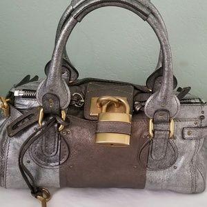 CHLOE Leather Paddington Metallic Pewter & Silver